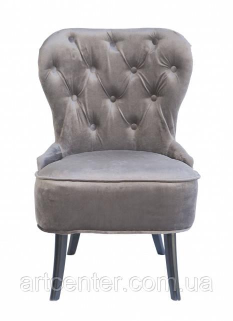 Кресло для педикюра Remi, велюровая обивка серого цвета, ножки сосна