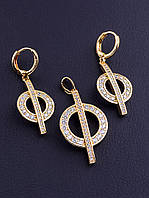 Комплект женских украшений ювелирная бижутерия состав серьги и кулон XUPING позолота 18к