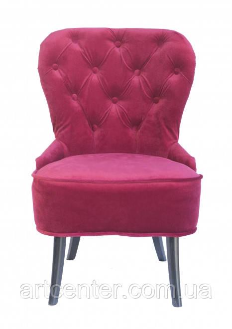 Кресло для педикюра Remi, велюровая обивка малинового цвета, ножки сосна