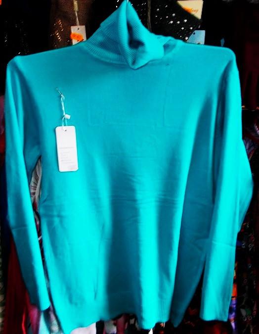 Гольф женский шерстяной отличное качество №6677 размер 48-56 голубой