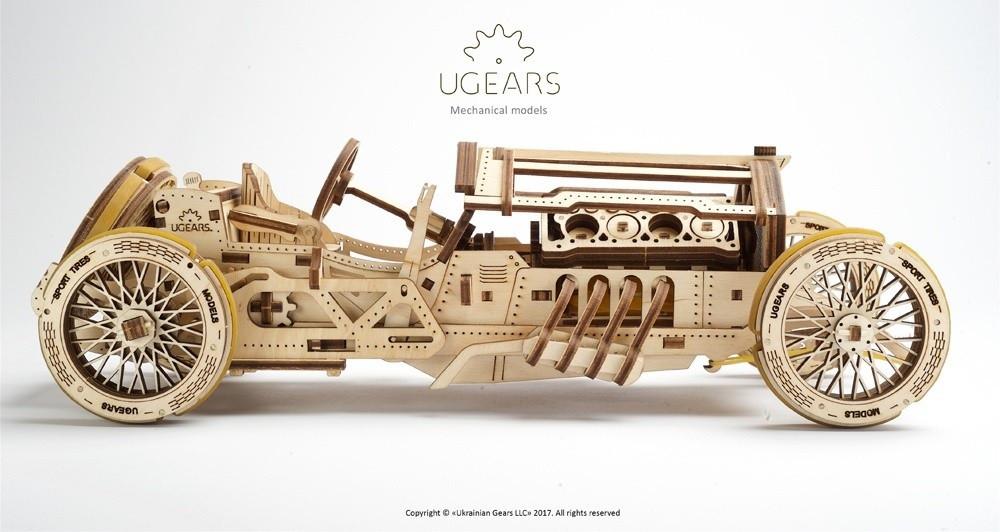 Спорткар U-9 Гран-при | UGEARS | Механический 3D конструктор из дерева