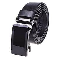 Ремень мужской кожаный на автомате черный JK-3520 (125 см)