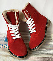 Женские зимние ботинки  Timberland красный замш мех, фото 1