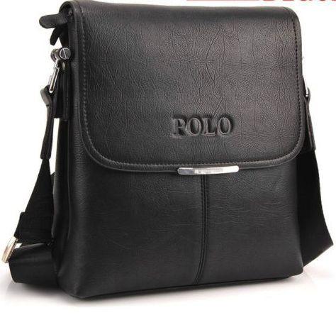 Красивая мужская черная сумка Polo через плечо