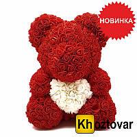 Мишка из искусственных 3D роз с сердечком | В коробке | 40 см