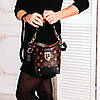 Маленькая сумка - торба из эко-кожи коричневого цвета со съемным ремешком