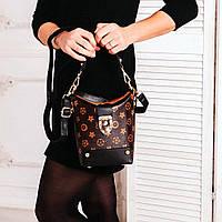 Маленькая сумка - торба из эко-кожи коричневого цвета со съемным ремешком, фото 1