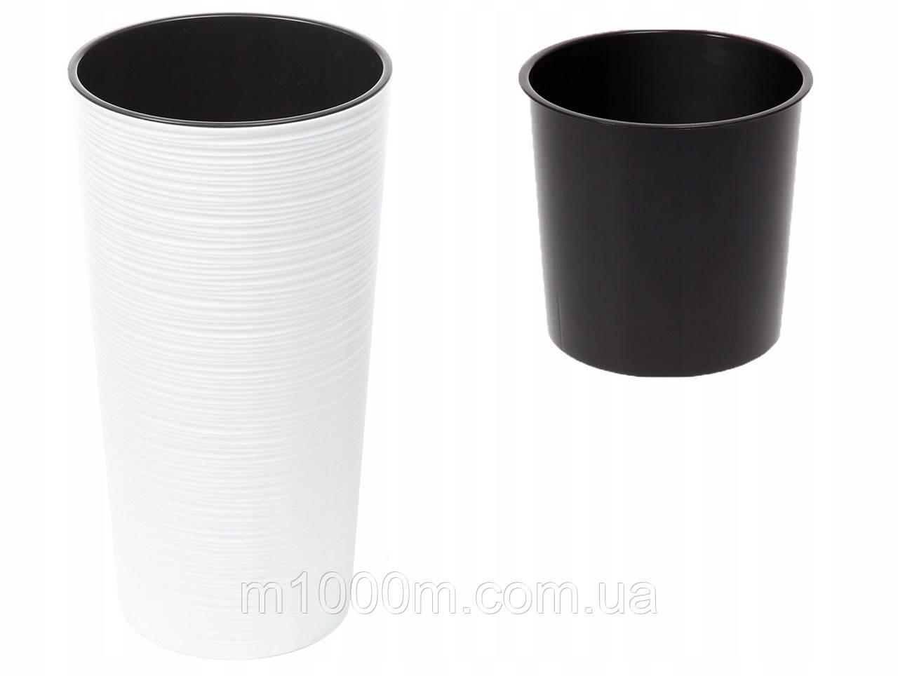 Горшок пластмассовый Лилия с вкладом долото белый 19,5см