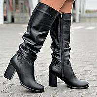 Сапоги женские зимние кожаные черные на каблуке (код 8867) - сапожки жіночі зимові шкіряні чорні, фото 1