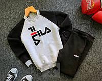 Спортивный костюм ЗИМНИЙ в стиле Fila grey-black мужской, фото 1
