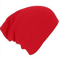 Шапка чулок осенняя яркая удлиненная красная
