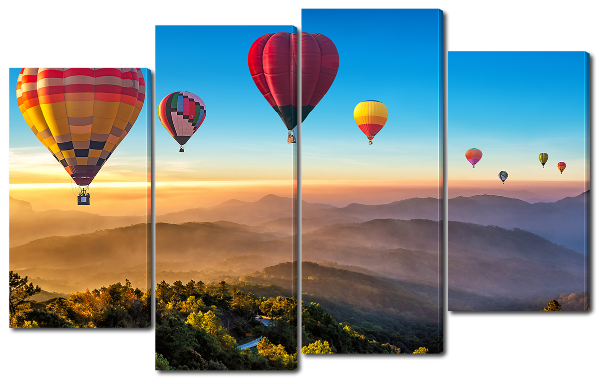 Модульная картина Interno Холст Воздушный шар над горами 94x56см (R3723S)
