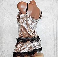 Размер S (42-44). Велюровый комплект для сна двойка, молодежная бежевая пижама майка и шорты с кружевом