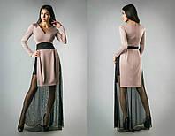"""Шикарное вечернее платье ткань """"Дайвинг+Стрейч сеточка"""" 42 размер норма"""