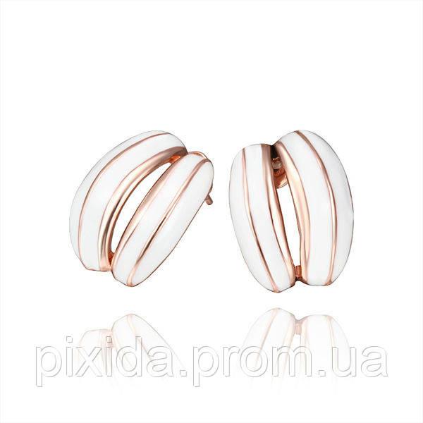 Сережки-гвоздики белая дуга покрытие 18К золото проба