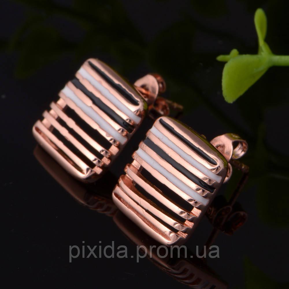 Сережки-гвоздики решеточка покрытие 18К золото проба