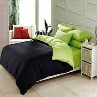 Двуспальный комплект. Черно-салатовое постельное постельное белье Простыня на резинке