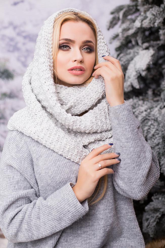 Зимовий світло-сірий в'язаний хомут/снуд/шарф Licato