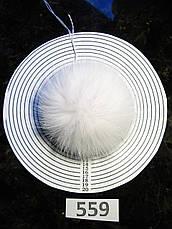 Меховой помпон Песец из шкуры, Белоснежный, 11/13 см, 559, фото 2