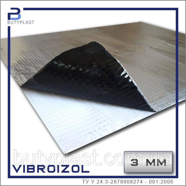 """Виброизоляция """"Vibroizol"""",  3мм, 330х500мм фольга  60мкм, Украина"""