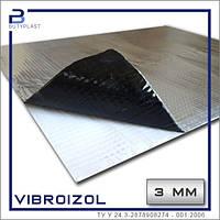 Виброизоляция Виброизол 3 мм, 330х500 мм, фольга 70 мкм   Vibroizol