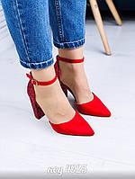 Красные туфли из эко-замши 40 размер