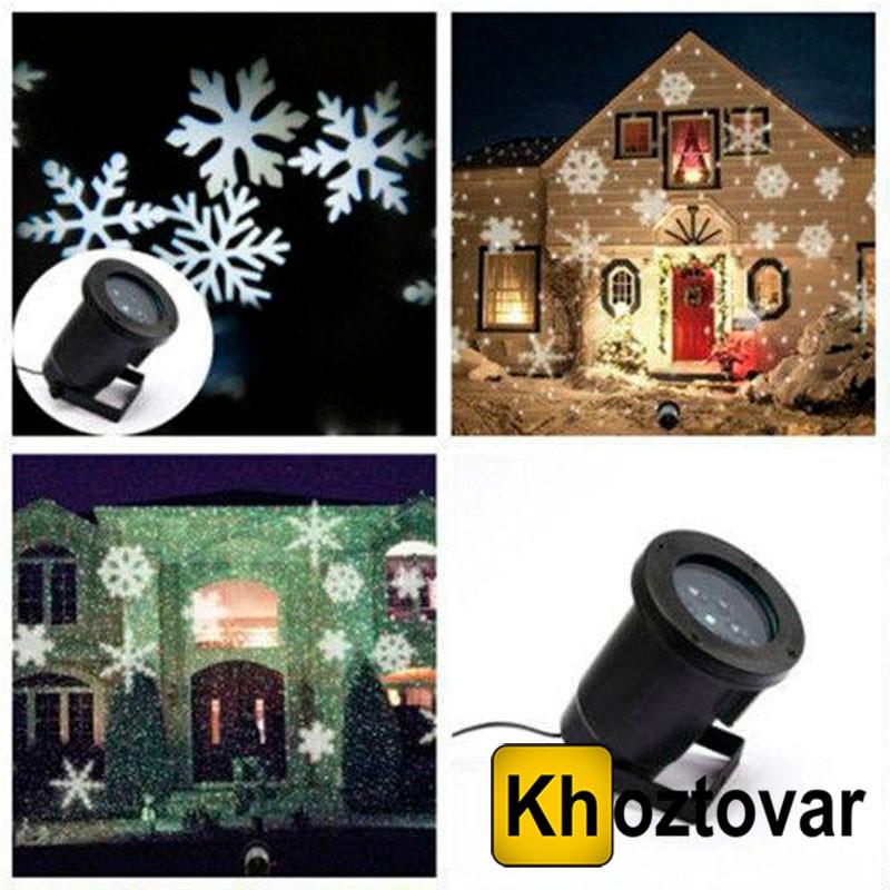 Новогодний лазерный проектор белые снежинки Star Shower WP1