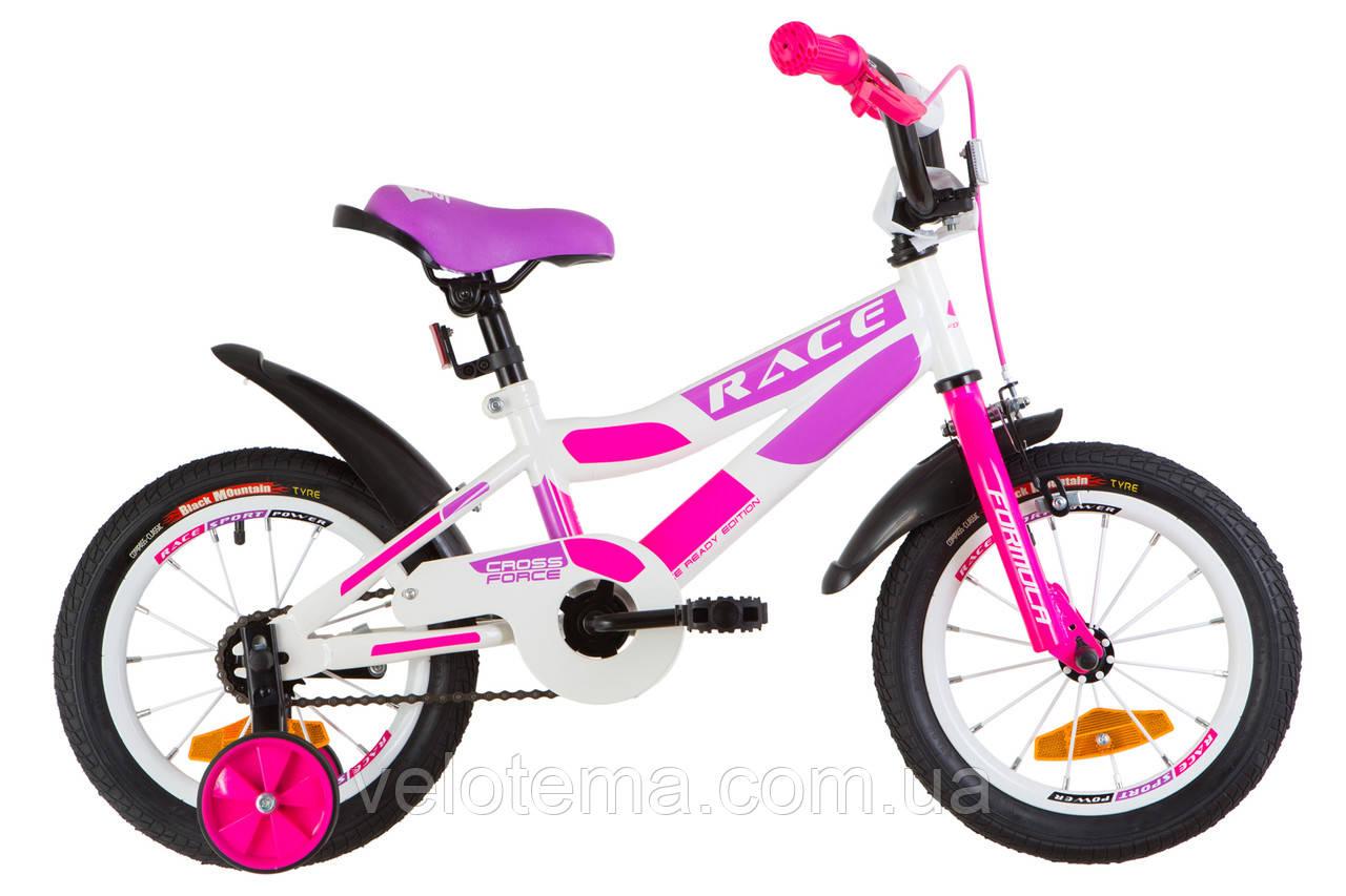 """Детский Велосипед 14"""" Formula RACE  усилен.   рама-8,5"""" St бело-малиновый с фиолетовым  с крылом Pl 2019"""
