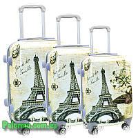 Набор пластиковых чемоданов на колесах (комплект из трех чемоданов) Paris Eiffel, фото 1