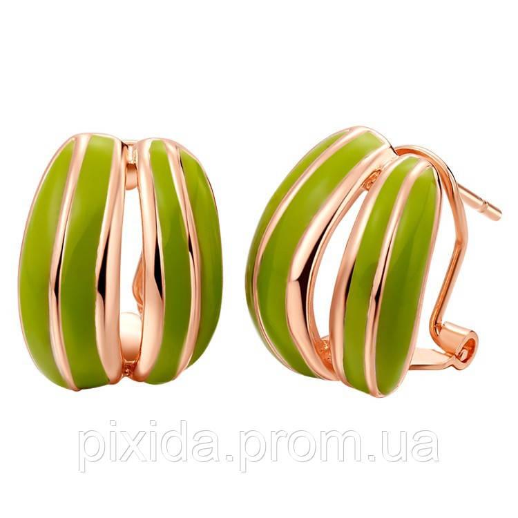 Сережки-гвоздики зеленая дуга покрытие 18К золото проба