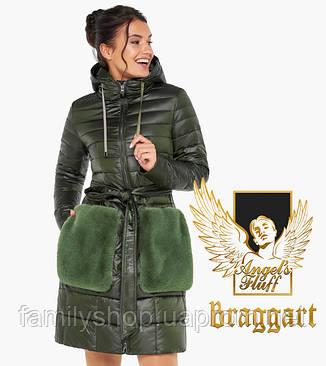 Воздуховик Braggart Angel's Fluff 31845   Осеннее-весенняя женская куртка цвет темный хаки, фото 2