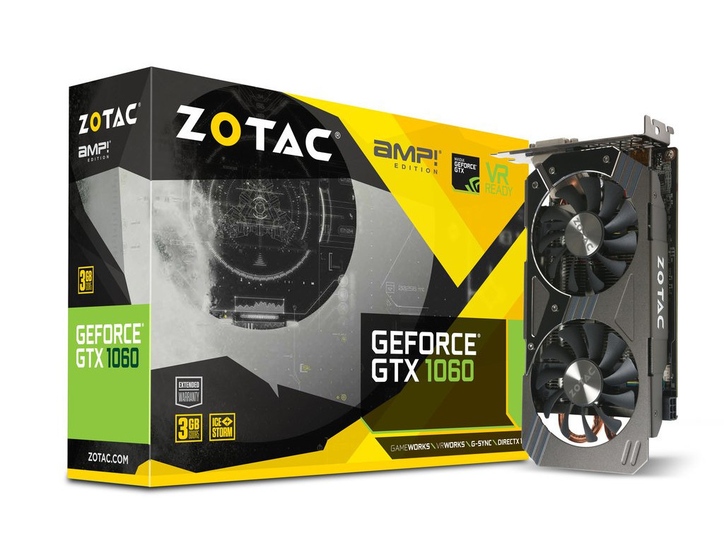 Видеокарта Zotac GeForce GTX 1060 3GB AMP! Edition (ZT-P10610E-10M)  Б/У
