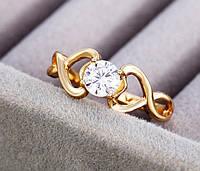 Кольцо с цирконом позолота размер 16 (код12744)