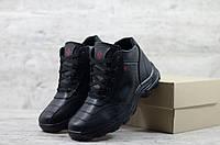 Мужские зимние ботинки на меху в стиле Columbia, кожа, полиуретан, черные *** 45 (30 см)