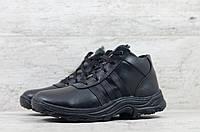 Мужские зимние ботинки на меху в стиле Adidas, кожа, полиуретан, черные *** 43 (28,5 см)