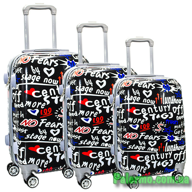 Набор пластиковых чемоданов на колесах (комплект из трех чемоданов) No Fears