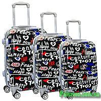 Набор пластиковых чемоданов на колесах (комплект из трех чемоданов) No Fears, фото 1