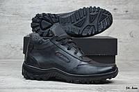 Мужские зимние ботинки на меху в стиле Columbia, кожа, полиуретан, черные *** 43 (28,5 см)