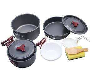 Туристический набор посуды 3в1 из анодированного алюминия. Туристическая сковородка, кастрюля.