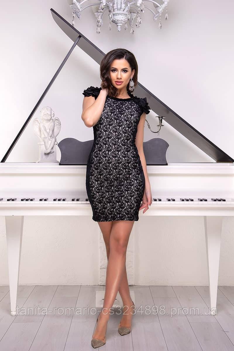 Коктейльное платье 3234e Чёрный/белый S(р)