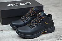 Мужские зимние ботинки на меху в стиле Ecco, кожа, шерсть, полиуретан, черные *** 40 (26 см)