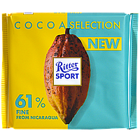 Шоколад Ritter Sport темный 61% какао с утонченным вкусом из Никарагуа  100г (1ящ/12шт)