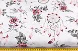"""Лоскут ткани""""Ловцы снов и серо-бордовые розы"""" на белом  № 2203а, размер 48*78 см, фото 2"""