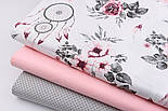 """Лоскут ткани""""Ловцы снов и серо-бордовые розы"""" на белом  № 2203а, размер 48*78 см, фото 4"""