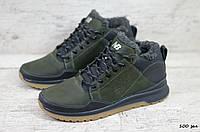 Мужские зимние ботинки на меху в стиле New Balance, кожа, полиуретан, зеленые *** 44 (29 см)