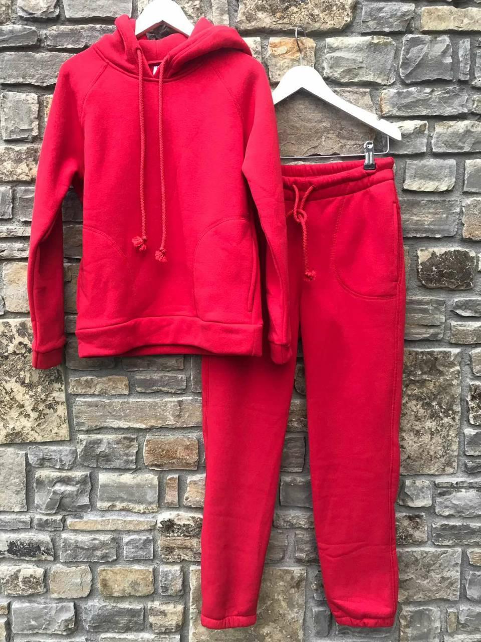 Спортивный УТЕПЛЁННЫЙ женский костюм - красный Оптом