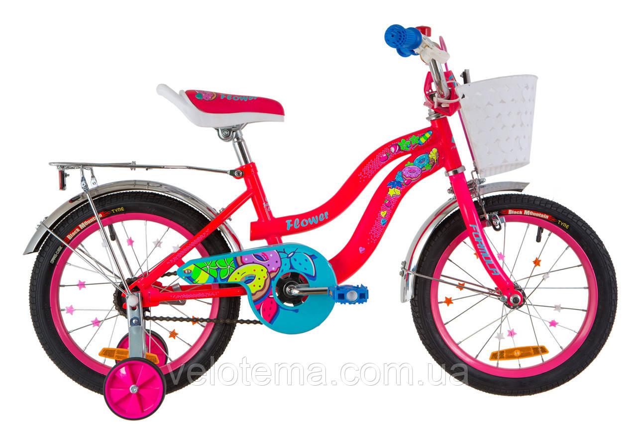 """Детский Велосипед 16"""" Formula FLOWER  14G    рама-10"""" St красный  с багажником зад St, с крылом St 2019"""