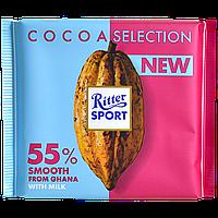 Шоколад Ritter Sport молочный с 55% какао с мягким вкусом из Ганы 100г (1ящ/12шт)