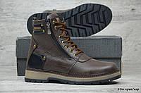 Мужские зимние ботинки на меху в стиле Zangak, кожа, шерсть, полиуретан, коричнеые *** 40
