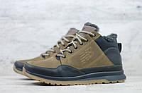 Мужские зимние ботинки на меху в стиле New Balance, кожа, полиуретан, оливковые *** 42 (28 см)